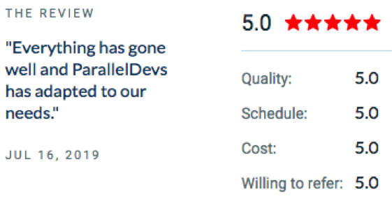 Everything has gone well and ParallelDevs has adapted to our needs