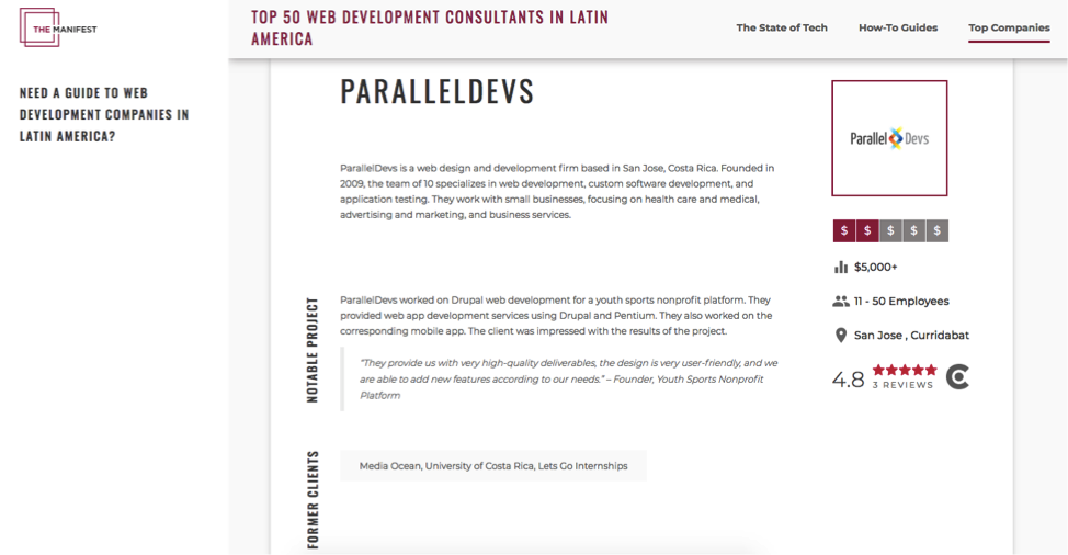The manifest shows paralleldevs profile